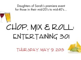 "Daughters of Sarah's ""Chop, Mix and Roll"" set for May 9"