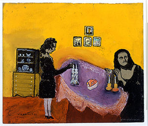 Joseph Garlock-Yellow Room, gouache on board, 1953