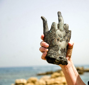Two divers recently discovered a 1,600-year-old Roman shipwreck and its cargo off of Israel's coast. Above one of the findings. Photo by Yoli Shwartz, Israel Antiquities Authority