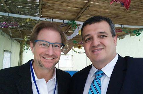 In the sukkah of the Israeli embassy in Paris Andrés Isaac Roemer Slomianski, left, Mexico's ambassador to UNESCO, with Israeli ambassador Carmel Shama-HaCohen.