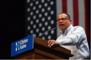 Rep. Keith Ellison speaks at a Hillary Clinton campaign event at the University of Minnesota in October 2016. Photo courtesy Lorie Shaull via Wikimedia Commons.