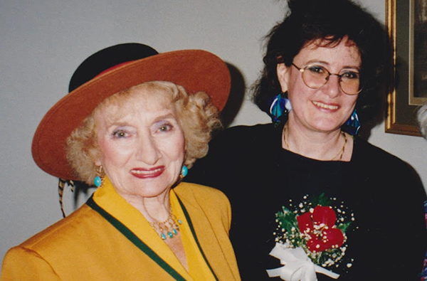 The pioneering photojournalist Ruth Gruber and the longtime JTA European correspondent Ruth Ellen Gruber met at a book launch party in 1992. (Courtesy of Ruth Ellen Gruber)