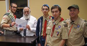 "Eagle Scout ""bimah"" dedication at Maimonides School"